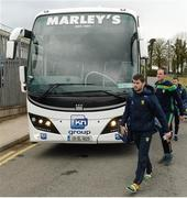 18 March 2018; Ryan McHugh, left, and Michael Murphy of Donegal arrive prior to the Allianz Football League Division 1 Round 6 match between Monaghan and Donegal at St. Tiernach's Park in Clones, Monaghan. Photo by Oliver McVeigh/Sportsfile