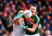 18 March 2018; Cillian O'Connor of Mayo in action against Pádraig Hampsey of Tyrone during the Allianz Football League Division 1 Round 6 match between Mayo and Tyrone at Elverys MacHale Park in Castlebar, Co. Mayo. Photo by Sam Barnes/Sportsfile