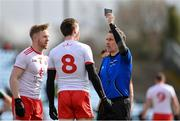 18 March 2018; Referee Maurice Deegan shows Colm Cavanagh of Tyrone the black card during the Allianz Football League Division 1 Round 6 match between Mayo and Tyrone at Elverys MacHale Park in Castlebar, Co. Mayo. Photo by Sam Barnes/Sportsfile