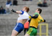 18 March 2018; Kieran Hughes of Monaghan in action against Caolan Ward of Donegal during the Allianz Football League Division 1 Round 6 match between Monaghan and Donegal at St. Tiernach's Park in Clones, Monaghan. Photo by Oliver McVeigh/Sportsfile