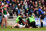 18 March 2018; Lee Keegan of Mayo receives treatment during the Allianz Football League Division 1 Round 6 match between Mayo and Tyrone at Elverys MacHale Park in Castlebar, Co. Mayo. Photo by Sam Barnes/Sportsfile