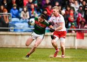 18 March 2018; Diarmuid O'Connor of Mayo in action against Frank Burns of Tyrone during the Allianz Football League Division 1 Round 6 match between Mayo and Tyrone at Elverys MacHale Park in Castlebar, Co. Mayo. Photo by Sam Barnes/Sportsfile