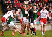 18 March 2018; Players from both sides tustle off the ball during the Allianz Football League Division 1 Round 6 match between Mayo and Tyrone at Elverys MacHale Park in Castlebar, Co. Mayo. Photo by Sam Barnes/Sportsfile