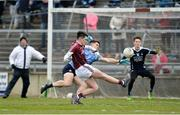 18 March 2018; Barry McHugh of Galway in action against David Byrne of Dublin during the Allianz Football League Division 1 Round 6 match between Galway and Dublin at Pearse Stadium, in Galway. Photo by Ray Ryan/Sportsfile