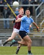 18 March 2018; James McCarthy of Dublin in action against Adrian Varley of Galway during the Allianz Football League Division 1 Round 6 match between Galway and Dublin at Pearse Stadium, in Galway. Photo by Ray Ryan/Sportsfile
