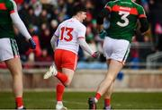 18 March 2018; Lee Brennan of Tyrone celebrates after scoring his side's first goal during the Allianz Football League Division 1 Round 6 match between Mayo and Tyrone at Elverys MacHale Park in Castlebar, Co. Mayo. Photo by Sam Barnes/Sportsfile