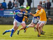 18 March 2018; Patrick Purcell of Laois in action against Eoghan Campbell of Antrim during the Allianz Hurling League Division 1B Relegation Play-Off match between Antrim and Laois at Pearse Park in Dunloy, Co Antrim. Photo by Mark Marlow/Sportsfile