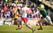 18 March 2018; Matthew Donnelly of Tyrone in action against Seamus O'Shea of Mayo during the Allianz Football League Division 1 Round 6 match between Mayo and Tyrone at Elverys MacHale Park in Castlebar, Co. Mayo. Photo by Sam Barnes/Sportsfile