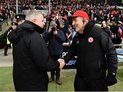18 March 2018; Tyrone manager Mickey Harte, right, and Mayo manager Stephen Rochford shake hands following the Allianz Football League Division 1 Round 6 match between Mayo and Tyrone at Elverys MacHale Park in Castlebar, Co. Mayo. Photo by Sam Barnes/Sportsfile