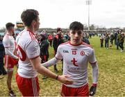 18 March 2018; Lee Brennan of Tyrone, right, is congratulated by teammate Conal McCann as he leaves the field following the Allianz Football League Division 1 Round 6 match between Mayo and Tyrone at Elverys MacHale Park in Castlebar, Co. Mayo. Photo by Sam Barnes/Sportsfile