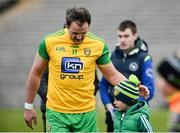 18 March 2018; Michael Murphy of Donegal leaves the field with a young supporter after the Allianz Football League Division 1 Round 6 match between Monaghan and Donegal at St. Tiernach's Park in Clones, Monaghan. Photo by Oliver McVeigh/Sportsfile