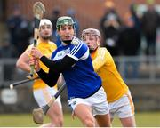 18 March 2018; James Ryan of Laois in action against Eoghan Campbell of Antrim during the Allianz Hurling League Division 1B Relegation Play-Off match between Antrim and Laois at Pearse Park in Dunloy, Co Antrim. Photo by Mark Marlow/Sportsfile
