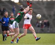 18 March 2018; Peter Harte of Tyrone in action against Paddy Durcan of Mayo during the Allianz Football League Division 1 Round 6 match between Mayo and Tyrone at Elverys MacHale Park in Castlebar, Co. Mayo. Photo by Sam Barnes/Sportsfile