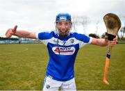 18 March 2018; Padraig Lawlor of Laois celebrates following the Allianz Hurling League Division 1B Relegation Play-Off match between Antrim and Laois at Pearse Park in Dunloy, Co Antrim. Photo by Mark Marlow/Sportsfile