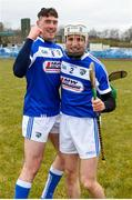 18 March 2018; Patrick Purcell, left, and Joe Phelan of Laois celebrate following the Allianz Hurling League Division 1B Relegation Play-Off match between Antrim and Laois at Pearse Park in Dunloy, Co Antrim. Photo by Mark Marlow/Sportsfile