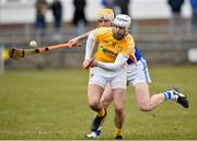 18 March 2018; Neil McManus of Antrim in action against Leigh Bergin of Laois during the Allianz Hurling League Division 1B Relegation Play-Off match between Antrim and Laois at Pearse Park in Dunloy, Co Antrim. Photo by Mark Marlow/Sportsfile