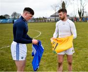 18 March 2018; Patrick Purcell of Laois and Neil McManus of Antrim exchange jerseys following the Allianz Hurling League Division 1B Relegation Play-Off match between Antrim and Laois at Pearse Park in Dunloy, Co Antrim. Photo by Mark Marlow/Sportsfile