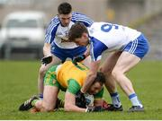 18 March 2018; Michael Murphy of Donegal in action against David Garland, left, and Niall Kearns of Monaghan during the Allianz Football League Division 1 Round 6 match between Monaghan and Donegal at St. Tiernach's Park in Clones, Monaghan. Photo by Oliver McVeigh/Sportsfile