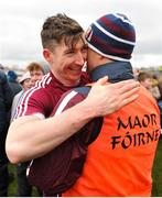 18 March 2018; Johnny Heaney of Galway is congratulated by selector Brain Silke after the Allianz Football League Division 1 Round 6 match between Galway and Dublin at Pearse Stadium, in Galway. Photo by Ray Ryan/Sportsfile