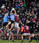 18 March 2018; Emmet O Conghaile, left, and Brian Fenton of Dublin in action against Thomas Flynn of Galway during the Allianz Football League Division 1 Round 6 match between Galway and Dublin at Pearse Stadium, in Galway. Photo by Ray Ryan/Sportsfile