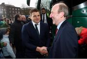 18 March 2018; CJ Stander of Ireland is greeted by Minister for Transport, Tourism and Sport, Shane Ross, T.D. during the Ireland Rugby homecoming at the Shelbourne Hotel in Dublin. Photo by David Fitzgerald/Sportsfile