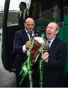 18 March 2018; Ireland captain Rory Best is greeted by Minister for Transport, Tourism and Sport, Shane Ross, T.D. during the Ireland Rugby homecoming at the Shelbourne Hotel in Dublin. Photo by David Fitzgerald/Sportsfile
