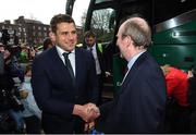 18 March 2018; CJ Stander of Ireland is greeted by Minister for Transport, Tourism and Sport, Shane Ross during the Ireland Rugby homecoming at the Shelbourne Hotel in Dublin. Photo by David Fitzgerald/Sportsfile