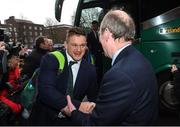 18 March 2018; Andrew Porter of Ireland is greeted by Minister for Transport, Tourism and Sport, Shane Ross, T.D, during the Ireland Rugby homecoming at the Shelbourne Hotel in Dublin. Photo by David Fitzgerald/Sportsfile