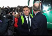 18 March 2018; Jordan Larmour of Ireland is greeted by Minister for Transport, Tourism and Sport, Shane Ross, T.D. during the Ireland Rugby homecoming at the Shelbourne Hotel in Dublin. Photo by David Fitzgerald/Sportsfile
