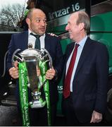 18 March 2018; Ireland captain Rory Best is greeted by Minister for Transport, Tourism and Sport, Shane Ross T.D. during the Ireland Rugby homecoming at the Shelbourne Hotel in Dublin. Photo by David Fitzgerald/Sportsfile
