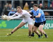 18 March 2018; Ronan O'Beolain of Galway in action against Paddy Andrews of Dublin during the Allianz Football League Division 1 Round 6 match between Galway and Dublin at Pearse Stadium, in Galway. Photo by Ray Ryan/Sportsfile