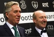 18 March 2018; FAI Chief Executive John Delaney, right, and Minister for Transport, Tourism and Sport, Shane Ross T.D. during the 3 FAI International Awards at RTE Studios in Donnybrook, Dublin. Photo by Stephen McCarthy/Sportsfile