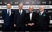 18 March 2018; Karl Donnelly, far left, Head of Sponsorship at 3 Ireland, FAI Chief Executive John Delaney, left, Shane Ross T.D. and FAI President Tony Fitzgerald, right, during the 3 FAI International Awards at RTE Studios in Donnybrook, Dublin. Photo by Seb Daly/Sportsfile