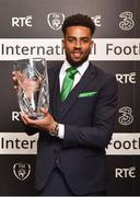 18 March 2018; Young International Player of the Year Cyrus Christie during the 3 FAI International Awards at RTE Studios in Donnybrook, Dublin. Photo by Seb Daly/Sportsfile