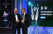 18 March 2018; Former Republic of Ireland international Damien Duff receives a Hall Of Fame award from Minister for Transport, Tourism and Sport, Shane Ross, T.D.during the 3 FAI International Awards at RTE Studios in Donnybrook, Dublin. Photo by Stephen McCarthy/Sportsfile