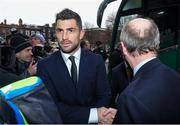 18 March 2018; Rob Kearney of Ireland is greeted by Minister for Transport, Tourism and Sport, Shane Ross, T.D. during the Ireland Rugby homecoming at the Shelbourne Hotel in Dublin. Photo by David Fitzgerald/Sportsfile
