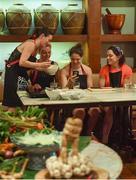 19 March 2018; Dublin players, from left, Sinéad Aherne, Nicole Owens, Noelle Healy and Sinéad Goldrick during a Thai cookery class on the TG4 Ladies Football All-Star Tour 2018. Anantara Hotel, Bangkok, Thailand. Photo by Piaras Ó Mídheach/Sportsfile