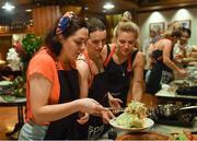 19 March 2018; Dublin players, from left, Sinéad Goldrick, Sinéad Aherne, and Nicole Owens during a Thai cookery class on the TG4 Ladies Football All-Star Tour 2018. Anantara Hotel, Bangkok, Thailand. Photo by Piaras Ó Mídheach/Sportsfile