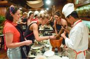 19 March 2018; Dublin players, from left, Sinéad Goldrick, Nicole Owens, and Noelle Healy during a Thai cookery class on the TG4 Ladies Football All-Star Tour 2018. Anantara Hotel, Bangkok, Thailand. Photo by Piaras Ó Mídheach/Sportsfile