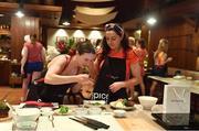 19 March 2018; Dublin's Sinéad Aherne, left, and Sinéad Goldrick during a Thai cookery class on the TG4 Ladies Football All-Star Tour 2018. Anantara Hotel, Bangkok, Thailand. Photo by Piaras Ó Mídheach/Sportsfile