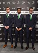 18 March 2018; In attendance from left are kevin Long, Cyrus Christy and Declan Rice during the 3 FAI International Awards at RTE Studios in Donnybrook, Dublin. Photo by Seb Daly/Sportsfile