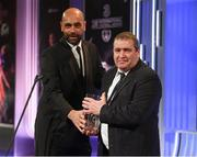 18 March 2018; Paul Knight accepts the Under 16 International Player of the Year award, on behalf of his son Jason Knight, from Republic of Ireland U16 manager Paul Osam during the 3 FAI International Awards at RTE Studios in Donnybrook, Dublin. Photo by Stephen McCarthy/Sportsfile