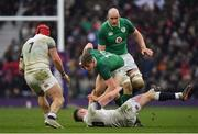 17 March 2018; Garry Ringrose of Ireland is tackled by Owen Farrell of England during the NatWest Six Nations Rugby Championship match between England and Ireland at Twickenham Stadium in London, England. Photo by Brendan Moran/Sportsfile