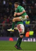 17 March 2018; James Ryan, left, and Jordan Larmour of Ireland celebrate after the NatWest Six Nations Rugby Championship match between England and Ireland at Twickenham Stadium in London, England. Photo by Brendan Moran/Sportsfile