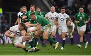 17 March 2018; Owen Farrell of England is tackled by Jordan Larmour of Ireland during the NatWest Six Nations Rugby Championship match between England and Ireland at Twickenham Stadium in London, England. Photo by Brendan Moran/Sportsfile