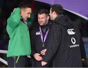 17 March 2018; Ireland players, from left, Jack Conan, Fergus McFadden and Robbie Henshaw with their medals after the NatWest Six Nations Rugby Championship match between England and Ireland at Twickenham Stadium in London, England. Photo by Brendan Moran/Sportsfile