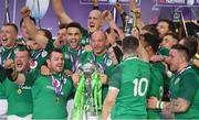 17 March 2018; Ireland players, including Dan Leavy, Jack McGrath, Cian Healy, Conor Murray and captain Rory Best celebrate with the trophy after the NatWest Six Nations Rugby Championship match between England and Ireland at Twickenham Stadium in London, England. Photo by Brendan Moran/Sportsfile