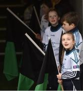 17 March 2018: AIB flagbearer Ebany Crotty, age 9, who won an AIB flag bearer competition to wave on Nemo Rangers at the AIB Senior Football Club Championship Final between Corofin and Nemo Rangers at Croke Park on St. Patrick's Day. For exclusive content and behind the scenes action of the AIB GAA & Camogie Club Championships follow AIB GAA on Facebook, Twitter, Instagram and Snapchat and www.aib.ie/gaa. Photo by David Fitzgerald/Sportsfile