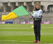 17 March 2018: AIB flagbearer Amy Jordan, age 10, who won an AIB flag bearer competition to wave on Nemo Rangers at the AIB Senior Football Club Championship Final between Corofin and Nemo Rangers at Croke Park on St. Patrick's Day. For exclusive content and behind the scenes action of the AIB GAA & Camogie Club Championships follow AIB GAA on Facebook, Twitter, Instagram and Snapchat and www.aib.ie/gaa. Photo by David Fitzgerald/Sportsfile