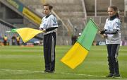 17 March 2018: AIB flagbearer Tommy Dempsey, age 12, left, and Leanne Kate Costello, age 10, who won an AIB flag bearer competition to wave on Nemo Rangers at the AIB Senior Football Club Championship Final between Corofin and Nemo Rangers at Croke Park on St. Patrick's Day. For exclusive content and behind the scenes action of the AIB GAA & Camogie Club Championships follow AIB GAA on Facebook, Twitter, Instagram and Snapchat and www.aib.ie/gaa. Photo by David Fitzgerald/Sportsfile
